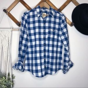Hollister Tops - Gingham Blue & White Button Down